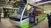 Ashok Leyland Optare Versa EV front quarter at the Bus and Special Vehicles Show 2015