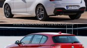 BMW 1 series facelift vs 1 series rear three quarter old vs new
