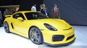 2015 Porsche Cayman GT4 front three quarter view at 2015 Geneva Motor Show