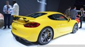 2015 Porsche Cayman GT4 rear three quarter view at 2015 Geneva Motor Show