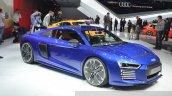 Audi R8 E-tron front three quarter view at 2015 Geneva Motor Show