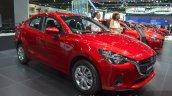 Mazda2 Sedan petrol variant front three quarter at the 2015 Bangkok Motor Show