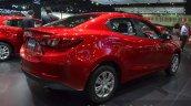 Mazda2 Sedan petrol variant rear three quarter at the 2015 Bangkok Motor Show