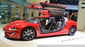 nanoFlowcell QUANT F front three quarters zoom out at the 2015 Geneva Motor Show