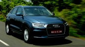 2015 Audi Q3 facelift front three quarter tracking shot India Review