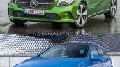 2016 Mercedes A Class vs 2012 Mercedes A Class front quarter Old vs New