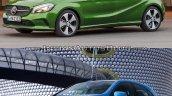 2016 Mercedes A Class vs 2012 Mercedes A Class front three quarter Old vs New