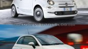 2016 Fiat 500 (facelift) vs 2007 Fiat 500 front quarter Old vs New