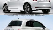 2016 Fiat 500 (facelift) vs 2007 Fiat 500 rear three quarter Old vs New