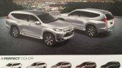 2016 Mitsubishi Pajero Sport colours brochure scan
