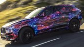 Jaguar F-Pace side view in motion (test prototype)
