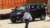 Mahindra TUV300 front three quarter top spec variant spotted undisguised