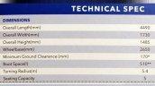 Maruti Ciaz SHVS dimensions brochure leaked