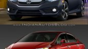 2015 Honda Civic vs 2016 Honda Civic front three quarter Old vs New