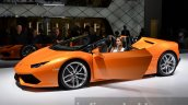 Lamborghini Huracan Spyder LP610-4 front three quarter orange at the IAA 2015
