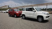 Mahindra TUV300 front three quarter red and white first drive review