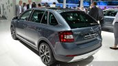 Skoda Rapid Spaceback Scoutline rear three quarter left at IAA 2015