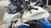 Suzuki Gixxer Metallic Triton Blue with Pearl Mirage White (BAQ) headlamp and tank