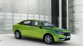 Lada Vesta front three quarter green press images