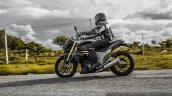 Mahindra Mojo braking fork travel 43.5 mm review