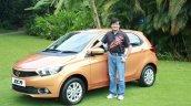 Tata Motors President Mayank Pareek with the Tata Zica hatchback