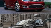 2017 Chrysler Pacifica vs. 2016 Chrysler Town & Country front three quarters