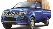 Mahindra Imperio Single Cab blue loaded front quarter
