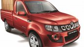 Mahindra Imperio Single Cab red loaded front quarter