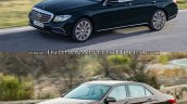 Mercedes E Class (W213) vs Mercedes E Class (W212) front three quarter dynamic Old vs New