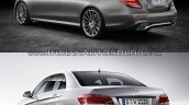 Mercedes E Class (W213) vs Mercedes E Class (W212) rear three quarter Old vs New
