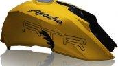 TVS Apache RTR 200 4V yellow fuel tank leaked