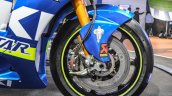 2016 Suzuki GSX-RR MotoGP bike front wheel disc brake at Auto Expo 2016