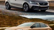 2016 Volvo V40 Cross Country (facelift) front three quarters old vs. new