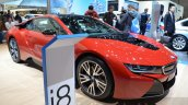 BMW i8 Protonic Red Edition front three quarter at the 2016 Geneva Motor Show Live