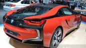 BMW i8 Protonic Red Edition rear three quarter at the 2016 Geneva Motor Show Live