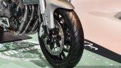 Benelli TNT 600GT Nero (black) alloy wheel at Auto Expo 2016