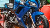 Hero HX250R blue front quarter at Auto Expo 2016