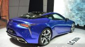 Lexus LC 500h unveiled rear three quarter at the 2016 Geneva Motor Show Live
