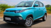 Mahindra KUV100 1.2 Diesel (D75) front three quarter with toe in Full Drive Review