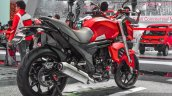 Mahindra Mojo accessories matte red rear quarter at Auto Expo 2016