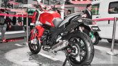 Mahindra Mojo accessories matte red swingarm slider at Auto Expo 2016