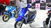 New Suzuki Access 125 Blue front three quarters at Auto Expo 2016