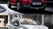 Peugeot 2008 front three quarters right side old vs. new