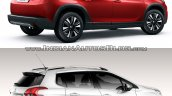 Peugeot 2008 rear three quarters right side old vs. new