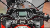 Suzuki Gixxer SF Candy Antares Red instrument console at Auto Expo 2016