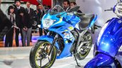 Suzuki Gixxer SF-Fi with rear disc brake front three quarter left at Auto Expo 2016