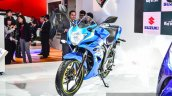 Suzuki Gixxer SF-Fi with rear disc brake front three quarter left side at Auto Expo 2016
