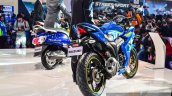 Suzuki Gixxer SF-Fi with rear disc brake rear three quarter main at Auto Expo 2016