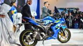 Suzuki Gixxer SF-Fi with rear disc brake side profile at Auto Expo 2016