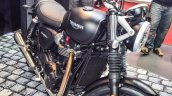 Triumph Bonneville Street Twin Matt Black front quarter at Auto Expo 2016